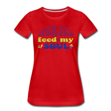 Load image into Gallery viewer, Women's Horses Feed My Soul T-Shirt - red
