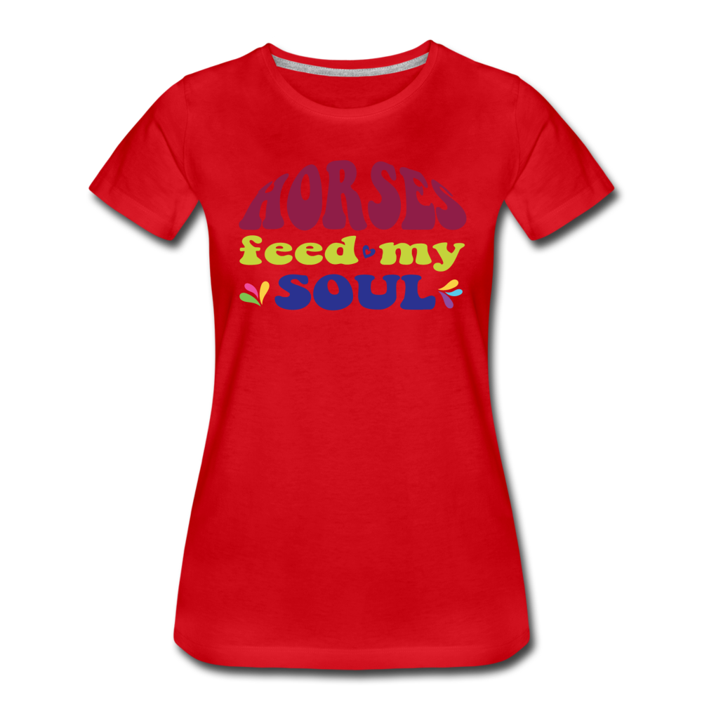 Women's Horses Feed My Soul T-Shirt - red