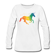 Load image into Gallery viewer, Women's Rainbow Unicorn Long Sleeve T-Shirt - white
