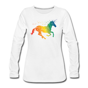 Women's Rainbow Unicorn Long Sleeve T-Shirt - white