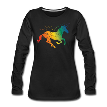 Load image into Gallery viewer, Women's Rainbow Unicorn Long Sleeve T-Shirt - black