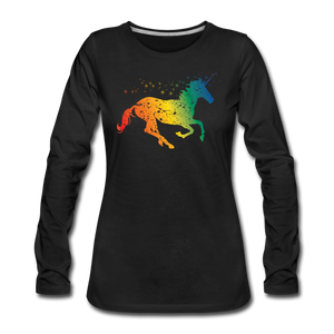 Women's Rainbow Unicorn Long Sleeve T-Shirt - black