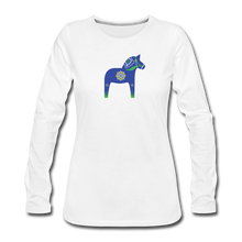 Load image into Gallery viewer, Women's Blue Dala Horse Long Sleeve T-Shirt - white