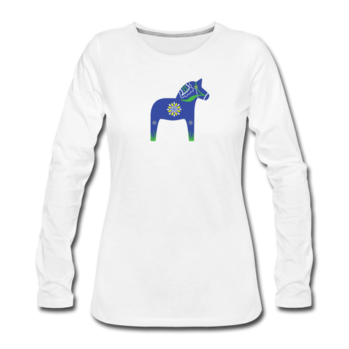 Women's Blue Dala Horse Long Sleeve T-Shirt - white
