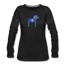 Load image into Gallery viewer, Women's Blue Dala Horse Long Sleeve T-Shirt - black