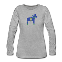 Load image into Gallery viewer, Women's Blue Dala Horse Long Sleeve T-Shirt - heather gray