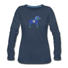 Load image into Gallery viewer, Women's Blue Dala Horse Long Sleeve T-Shirt - navy