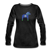 Load image into Gallery viewer, Women's Blue Dala Horse Long Sleeve T-Shirt - charcoal gray