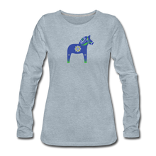 Load image into Gallery viewer, Women's Blue Dala Horse Long Sleeve T-Shirt - heather ice blue