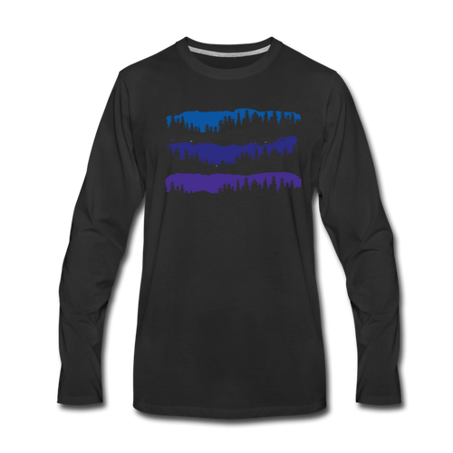 Men's Blue Mountain Trees Long Sleeve T-Shirt - black