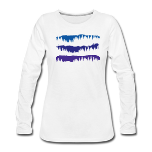 Women's Blue Mountain Trees Long Sleeve T-Shirt - white