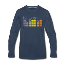 Load image into Gallery viewer, Men's Bluegrass Sound Meter Long Sleeve T-Shirt - navy