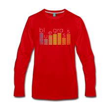 Load image into Gallery viewer, Men's Bluegrass Sound Meter Long Sleeve T-Shirt - red