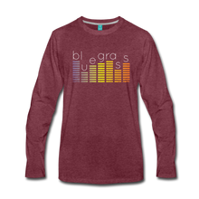 Load image into Gallery viewer, Men's Bluegrass Sound Meter Long Sleeve T-Shirt - heather burgundy