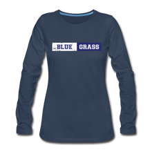 Load image into Gallery viewer, Women's Faded Bluegrass Stripe Long Sleeve T-Shirt - navy