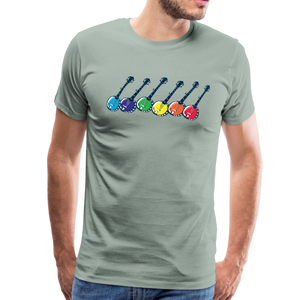 Men's Colorful Banjos T-Shirt - steel green