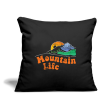 "Load image into Gallery viewer, 60s Mountain Life Throw Pillow Cover 17.5"" x 17.5"" - black"