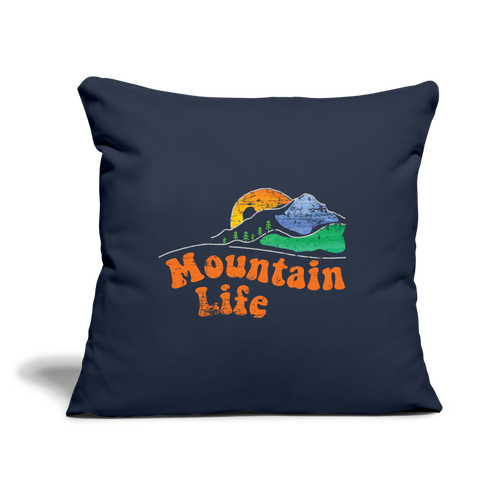 "60s Mountain Life Throw Pillow Cover 17.5"" x 17.5"" - navy"