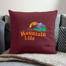 "Load image into Gallery viewer, 60s Mountain Life Throw Pillow Cover 17.5"" x 17.5"" - burgundy"
