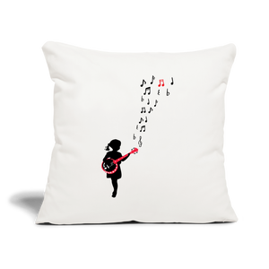 "Girl with a Red Banjo Throw Pillow Cover 17.5"" x 17.5"" - natural white"