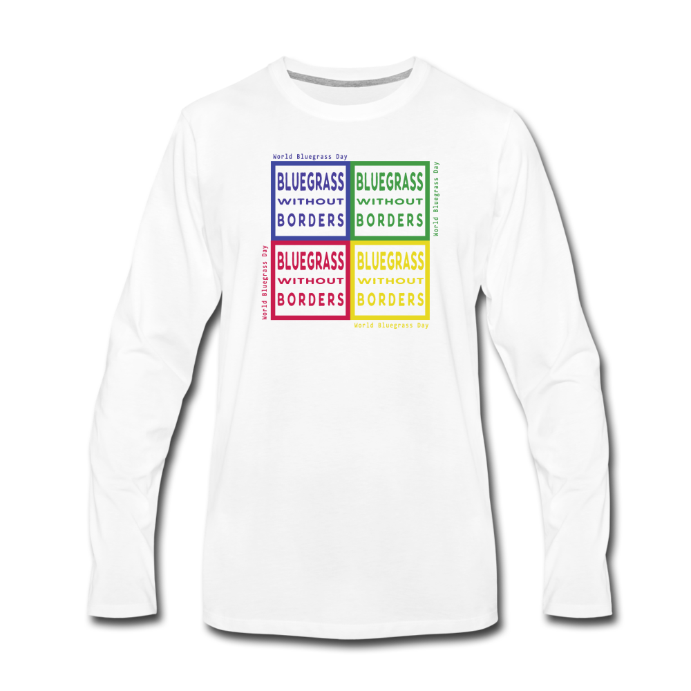 Men's Colored Bluegrass without Borders Long Sleeve T-Shirt - white