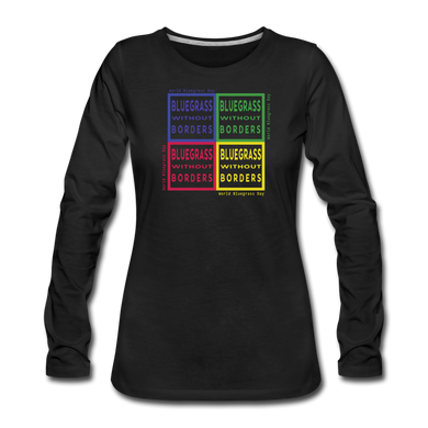 Women's Colored Bluegrass without Borders Long Sleeve T-Shirt - black