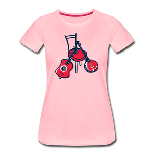 Women's Red Chair Guitar & Banjo T-Shirt - pink