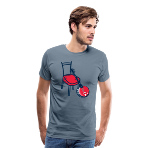 Men's Banjo Red Chair T-Shirt - steel blue