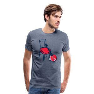 Men's Banjo Red Chair T-Shirt - heather blue