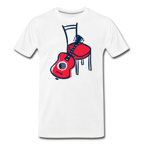 Men's Guitar Red Chair T-Shirt - white