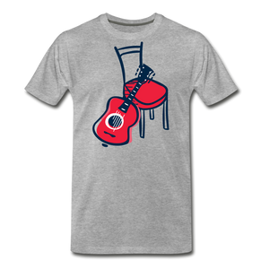 Men's Guitar Red Chair T-Shirt - heather gray