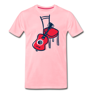 Men's Guitar Red Chair T-Shirt - pink