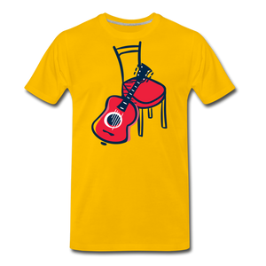 Men's Guitar Red Chair T-Shirt - sun yellow