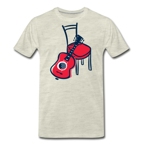 Men's Guitar Red Chair T-Shirt - heather oatmeal