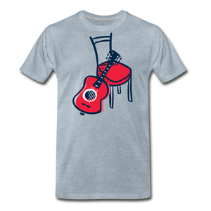 Men's Guitar Red Chair T-Shirt - heather ice blue