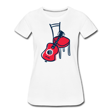 Load image into Gallery viewer, Women's Guitar Red Chair T-Shirt - white