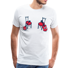 Load image into Gallery viewer, Men's Banjo & Guitar Red Chair T-Shirt - white