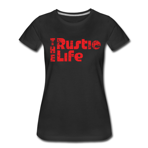 Women's Retro The Rustic Life T-Shirt - black