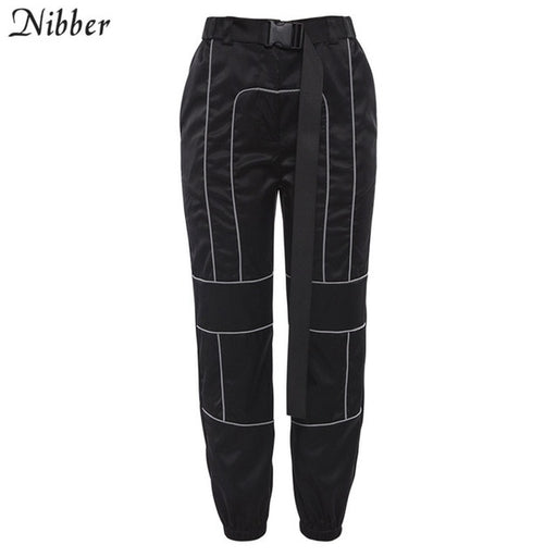 Reflective Stripes Women'S Casual Straight Pants Simple Lady Sweatpants Wild Belt Decoration