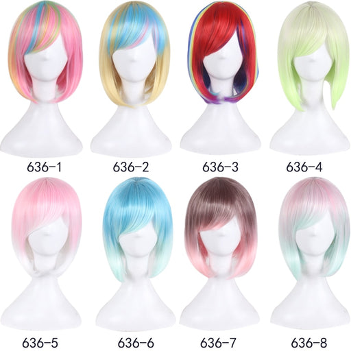 Fashion Sexy Rose Net Colorful Rainbow Wig Short Ombre Straight Bob Wigs Synthetic Hair Cosplay Wig