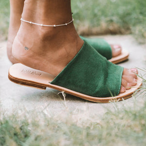 Green Suede Leather Sandals