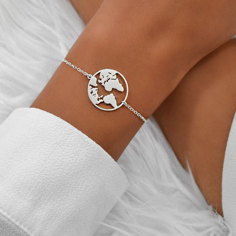 World Map Bracelet Silver