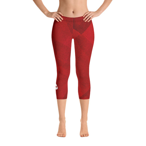 Women's Capri Leggings - Red