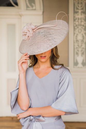 Grey Circular disc hat with curled ostrich quills