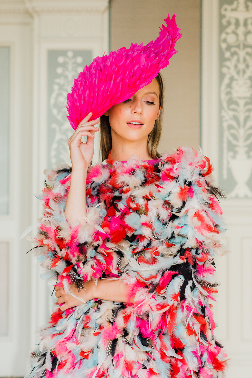 Pink Feather Diamond Hat