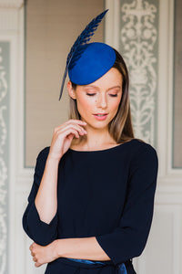Blue Felt Cocktail hat