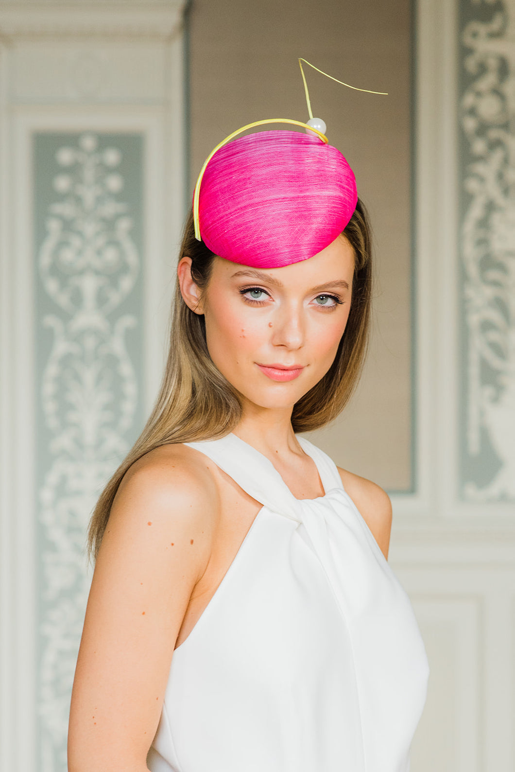 Pink Cocktail hat with Quill