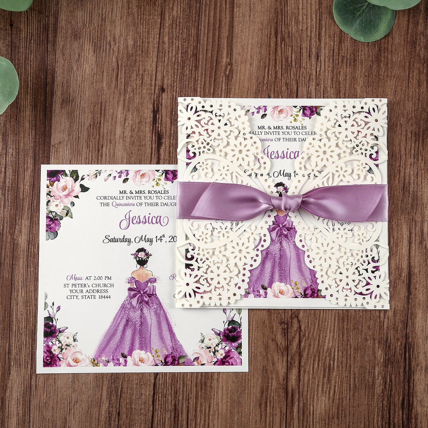 square invitations cards with purple ribbon for