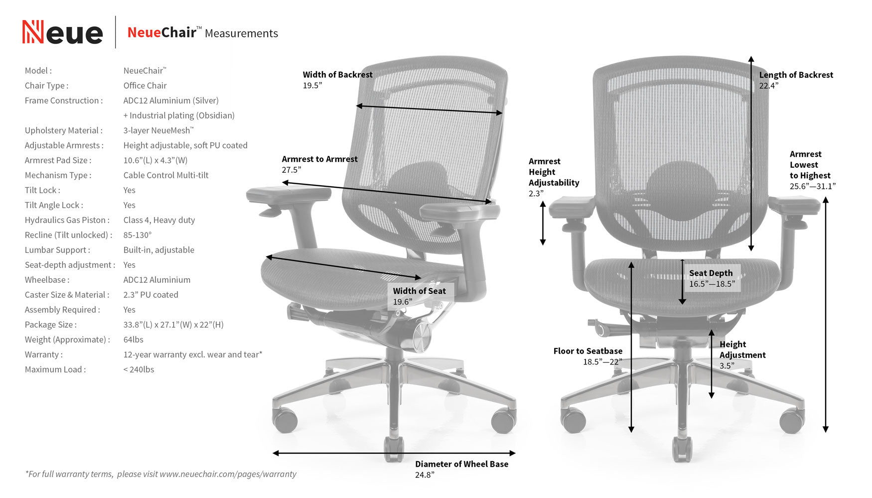 NeueChair Measurements Specification Sheet