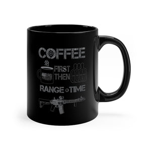 Coffee First - Range Time - Black mug 11oz - Sniperology